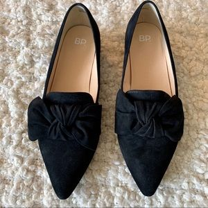 BP BLACK BOW SUEDE POINTED FLATS
